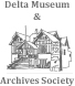 Logo de la Delta Museum and Archives Society, dessin au trait stylisé du Delta Museum.