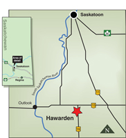 Map indicating the location of Hawarden, Saskatchewan.